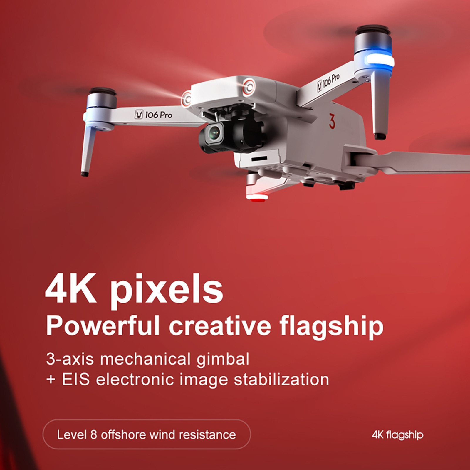 2021 New Year Gift Jj106 Pro 1.2km Fpv 3-axis Gimbal 4k Camera Wifi Gps Rc Drone Quadcopte High Altitude Flight