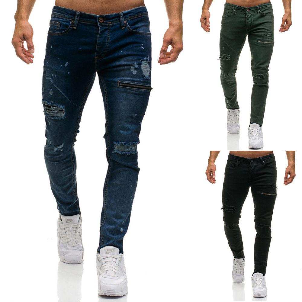 2020 Casual Jeans Men Men's New Products With Broken Zipper Decoration Denim Pants Mens Clothing