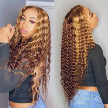 Highlight Wig Human Hair Deep Wave Lace Front Human Hair Wigs Ombre Highlight Wig Brown Honey Blonde