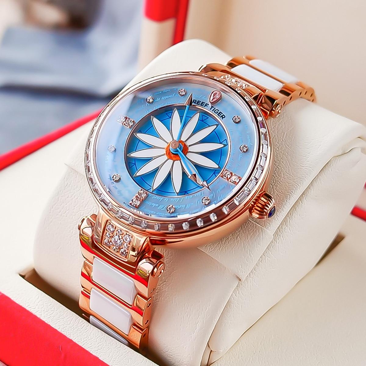 Reef Tiger/RT Fashion Lily Women Watch Rose Gold Diamonds Bezel Lady Automatic Watches Relogio Feminino RGA1599