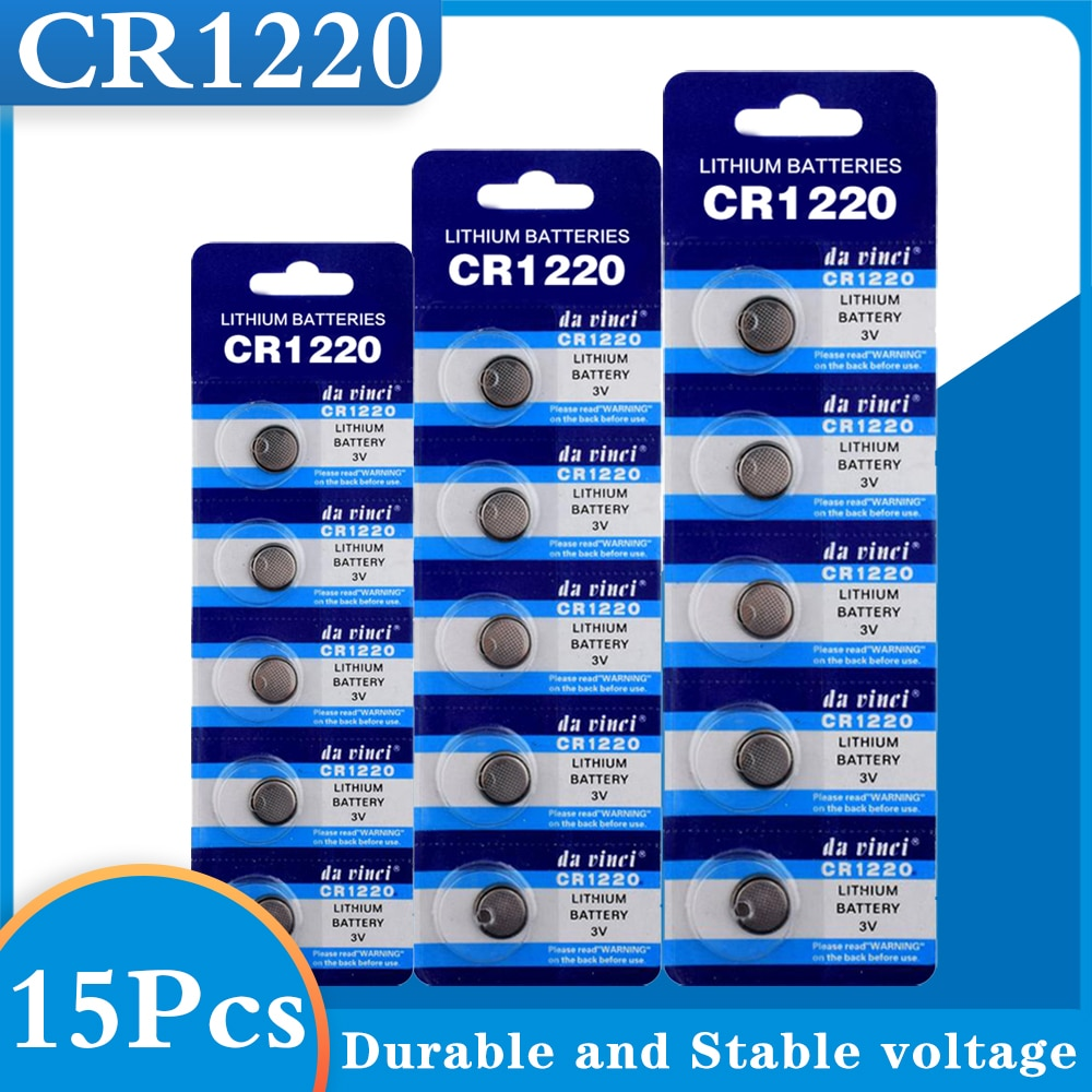 15PCS CR1220 Button Batteries DL1220 BR1220 LM1220 Cell Coin Lithium Battery 3V CR 1220 For Watch Electronic Toy Remote