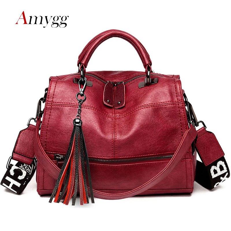 Bolso multifuncional con borla para mujer, bolsos de mano de alta calidad de piel sintética, bolsos de hombro tipo bandolera de gran capacidad para mujer, bolso principal