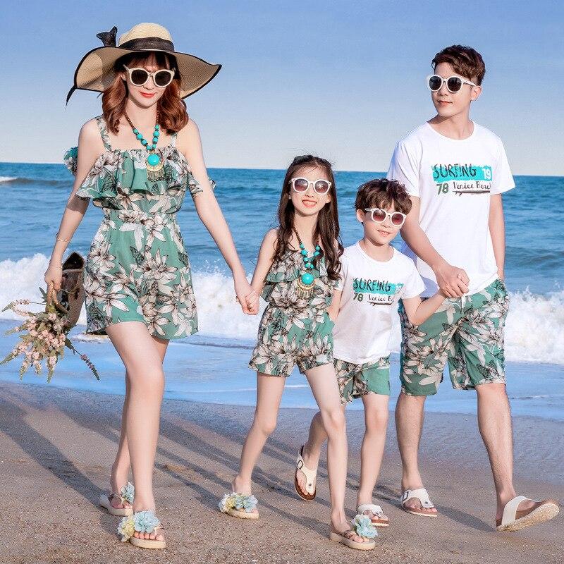 الأم ابنة الشاطئ فساتين النساء الفتيات ثوب السباحة الأب والابن قمصان الأب الأطفال أطفال الأولاد مجموعة ملابس الأسرة قميص