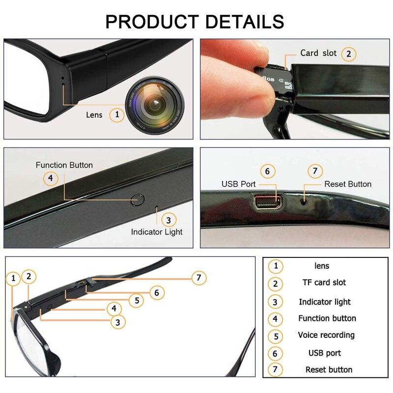 Real 1080p HD Camera Glasses Photo Video Recorder Mini DV Wearable Camcorder Cam EyeGlasses enlarge