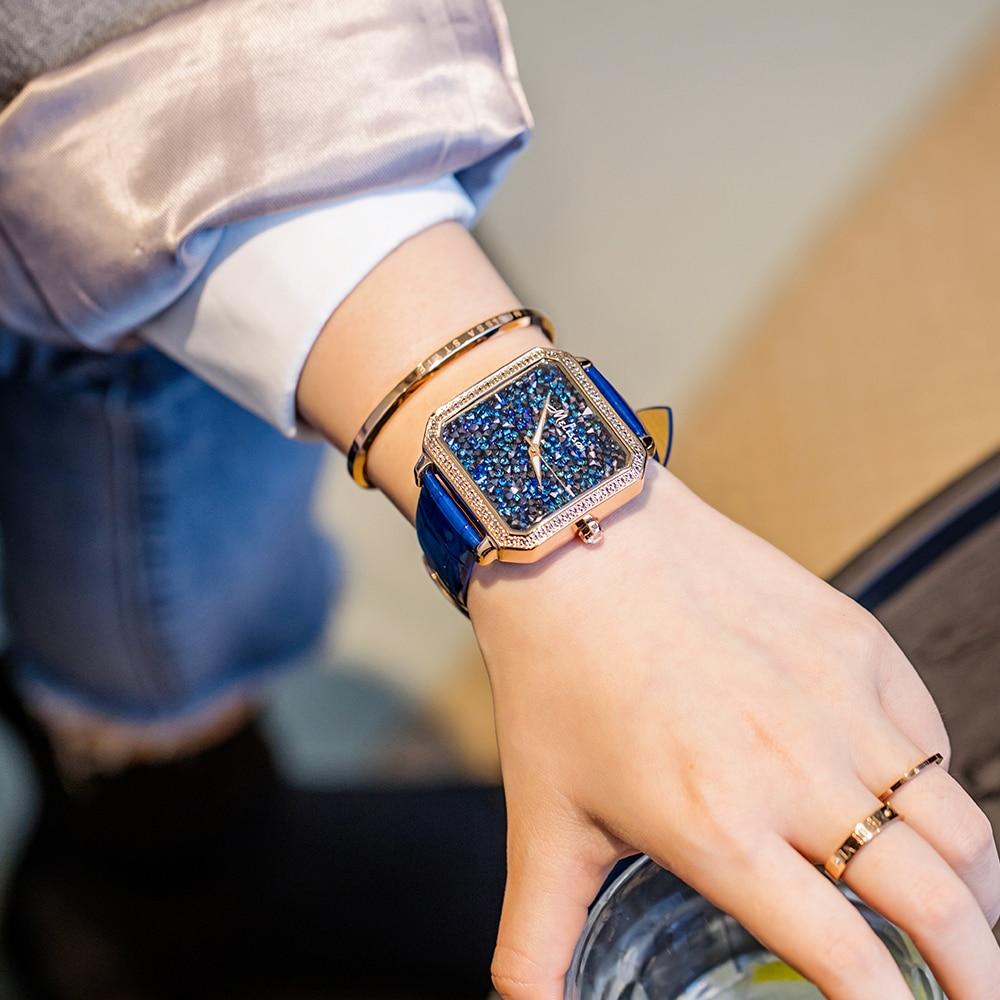 ميليسا سيدة المرأة ووتش ساعات كبيرة غرامة الأزياء والمجوهرات ساعة جلدية سوار الفاخرة العلامة التجارية فتاة الراين عيد ميلاد هدية مربع