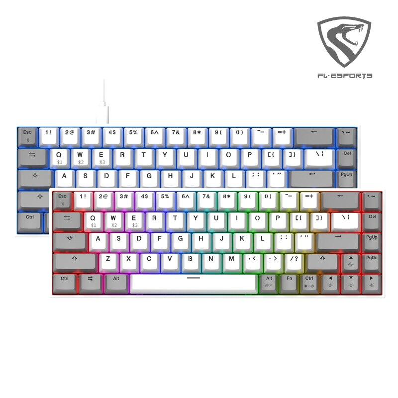 Kailh & FL ESPORTS 68 tuşları hot swap soket oyun mekanik klavye RGB arka işık ile kablolu USB ergonomik klavye için PC laptop