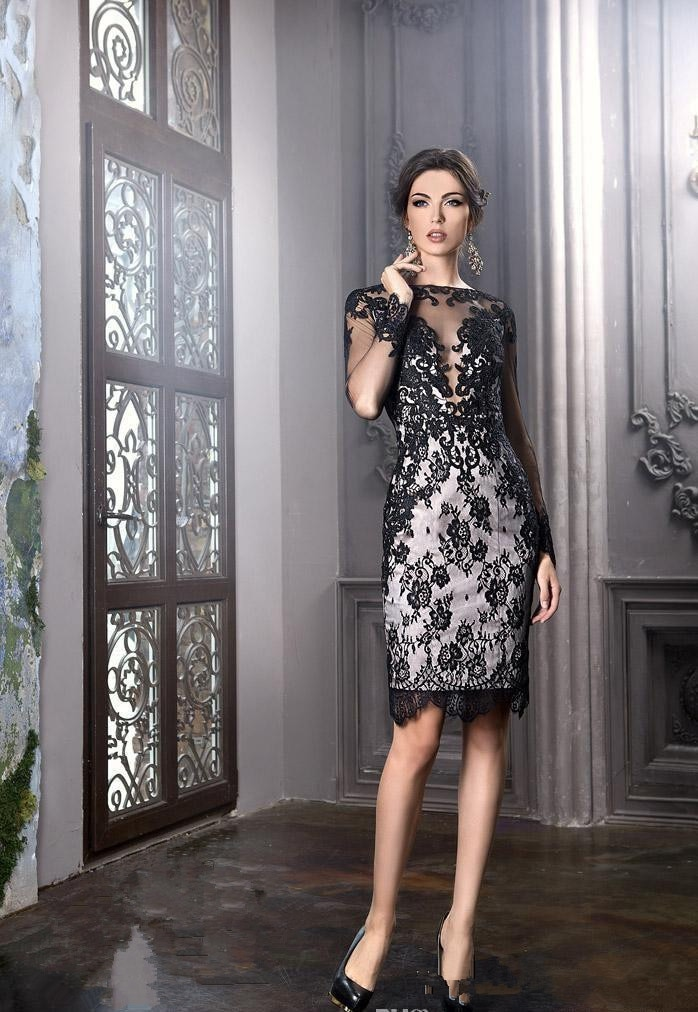 Black Mother Of The Bride Dresses Sheath Long Sleeves Knee Length Lace Plus Size Short Groom Mother
