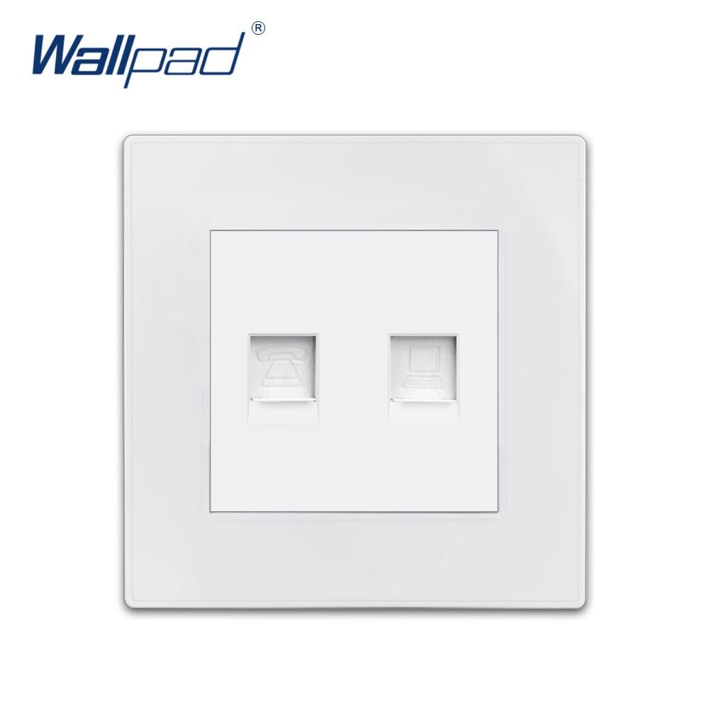 Wallpad TEL Data Socket компьютерный Ethernet RJ45 CAT6 Роскошный белый ПК Панель настенная неделя розетки