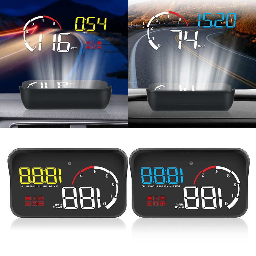 1 proyector de parabrisas M10 para conducción, pantalla HUD de seguridad para coche, sistema de alarma inteligente OBD2 con alarma de exceso de velocidad para Estilismo de coche