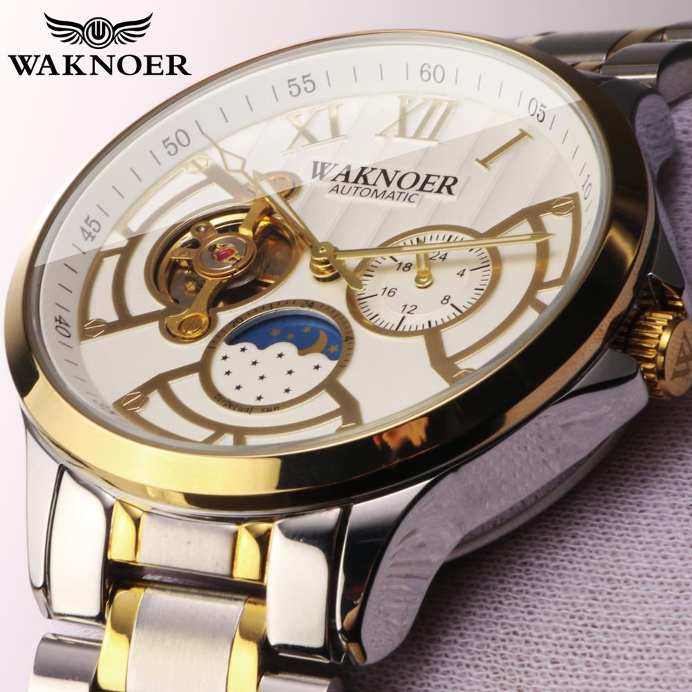 Novo relógio de pulso mecânico de luxo masculino waknoer metal aço couro relogio automático relógios mecânicos negócios montre saati