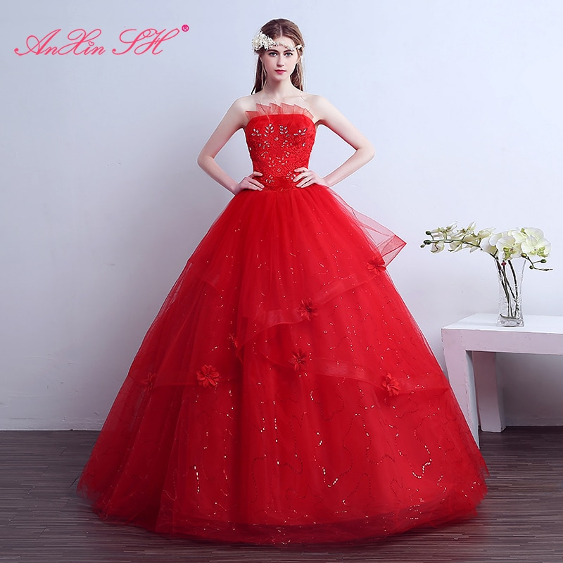 AnXin SH פרח אדום כלה חתונה שמלת תחרה חולצת סטרפלס נסיכת תחרה אדום לבן סטרפלס קפלי שמלות כלה
