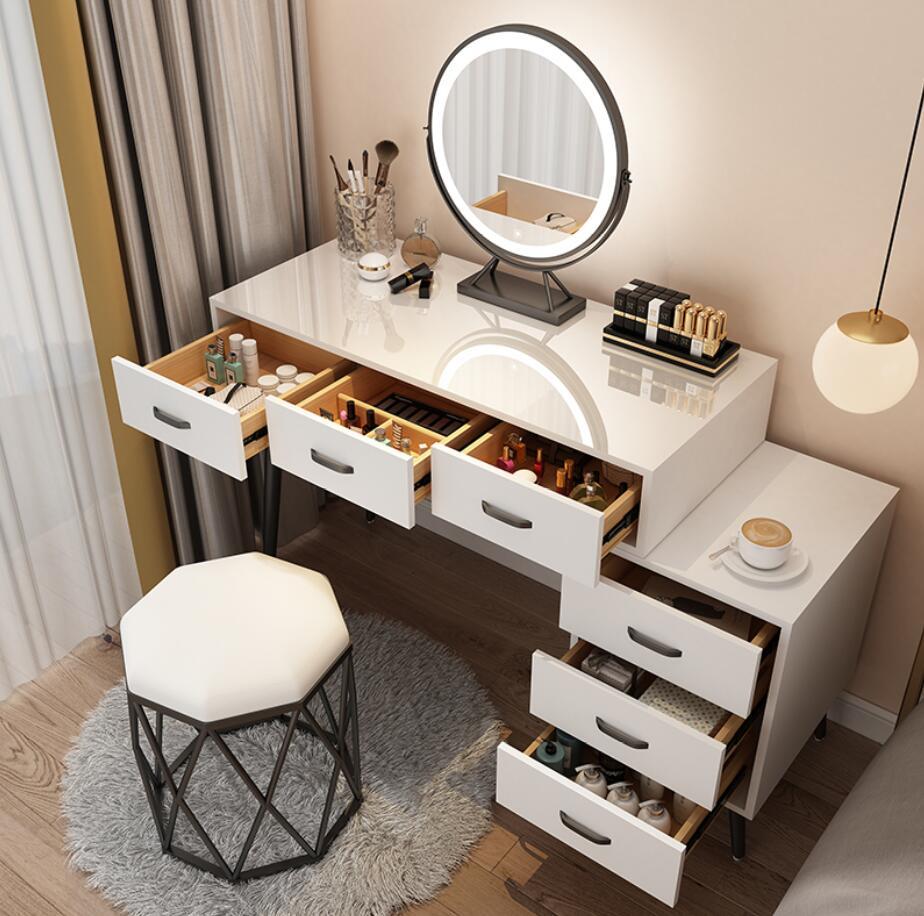 Скандинавский туалетный столик, многофункциональный прикроватный шкаф для хранения, встроенная спальня, Большой Вместительный макияжный ...
