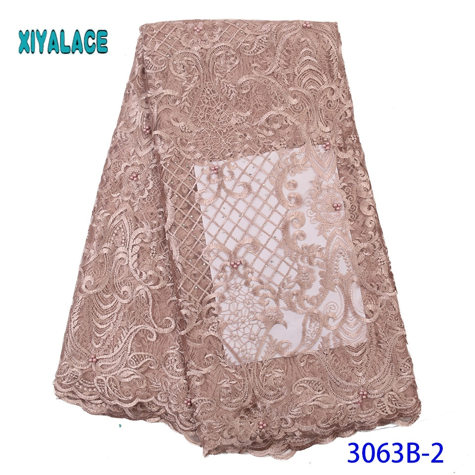 2019 de alta qualidade tecido renda bordado nigeriano mulher rendas tecidos vestido africano tecido renda francesa YA3063B-2