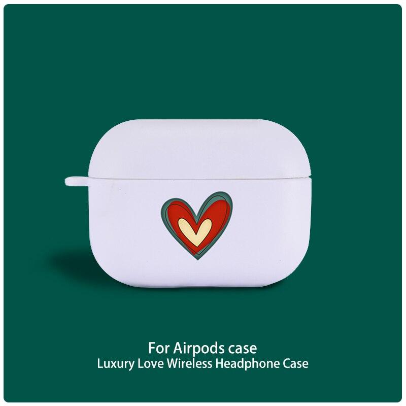 Bonito amor coração fone de ouvido caso para apple airpods pro capa sem fio bluetooth silicone ar vagens 3 caso capa protetora
