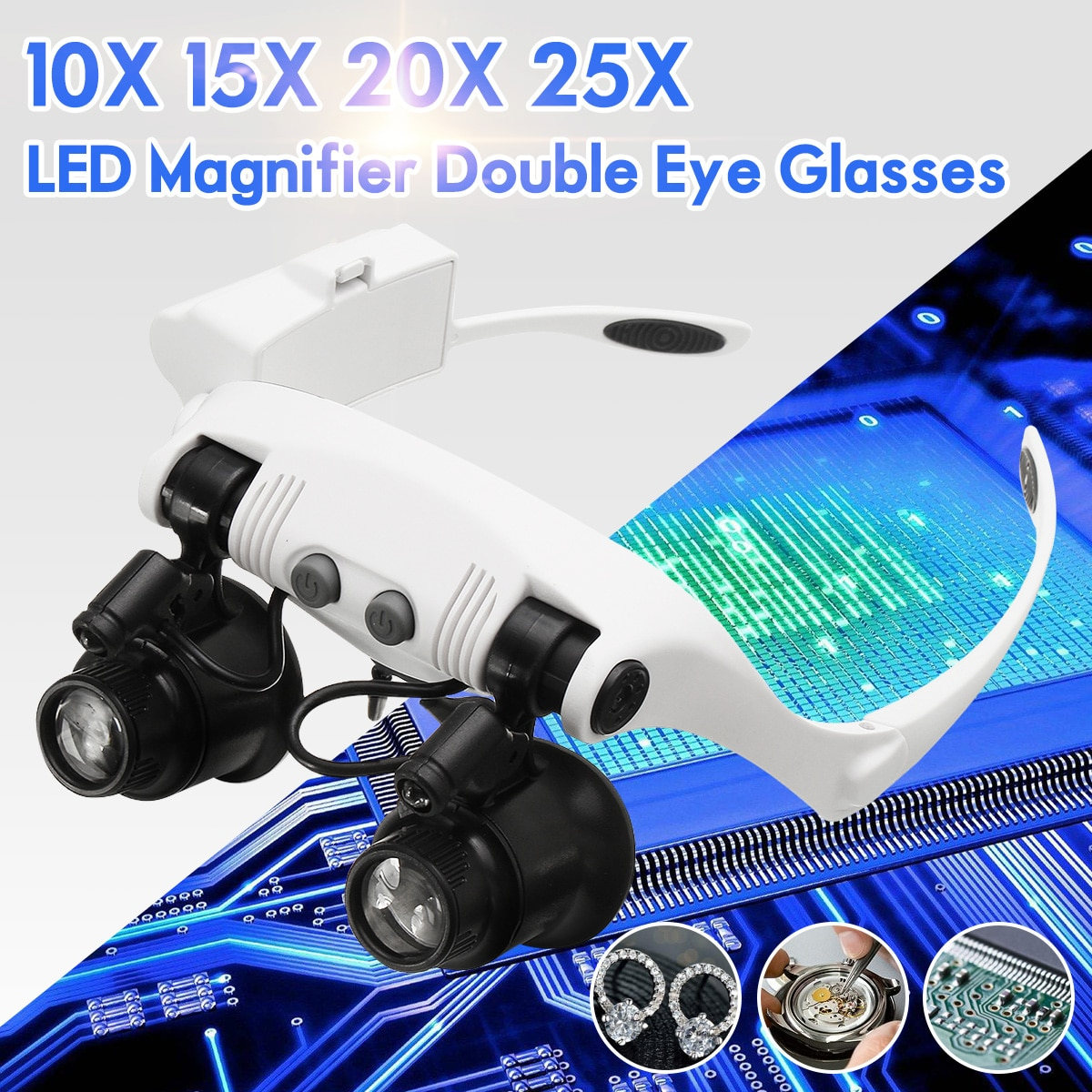 10X 15X 20X 25X LED Magnifier Double Eye Glasses Loupe Lens Jeweler Watch Repair Measurement with 8
