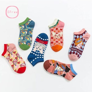 Sfree 6Pairs French Cat Men and Women Personality Retro College Style Shallow Short Socks Summer Literature and Art