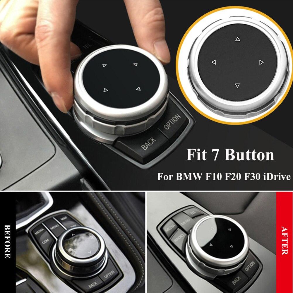 Preto prata modificado centro console botão de controle multimídia botão guarnições decoração decoração plástico abs para bmw f10 f2