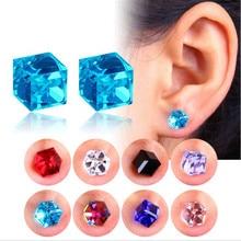 PENGBIN Non-Piercing Ear Stud Creative Magnet Square Crystal Ear Clip Magnetic Ear Stud Earrings No Piercing False Earrings