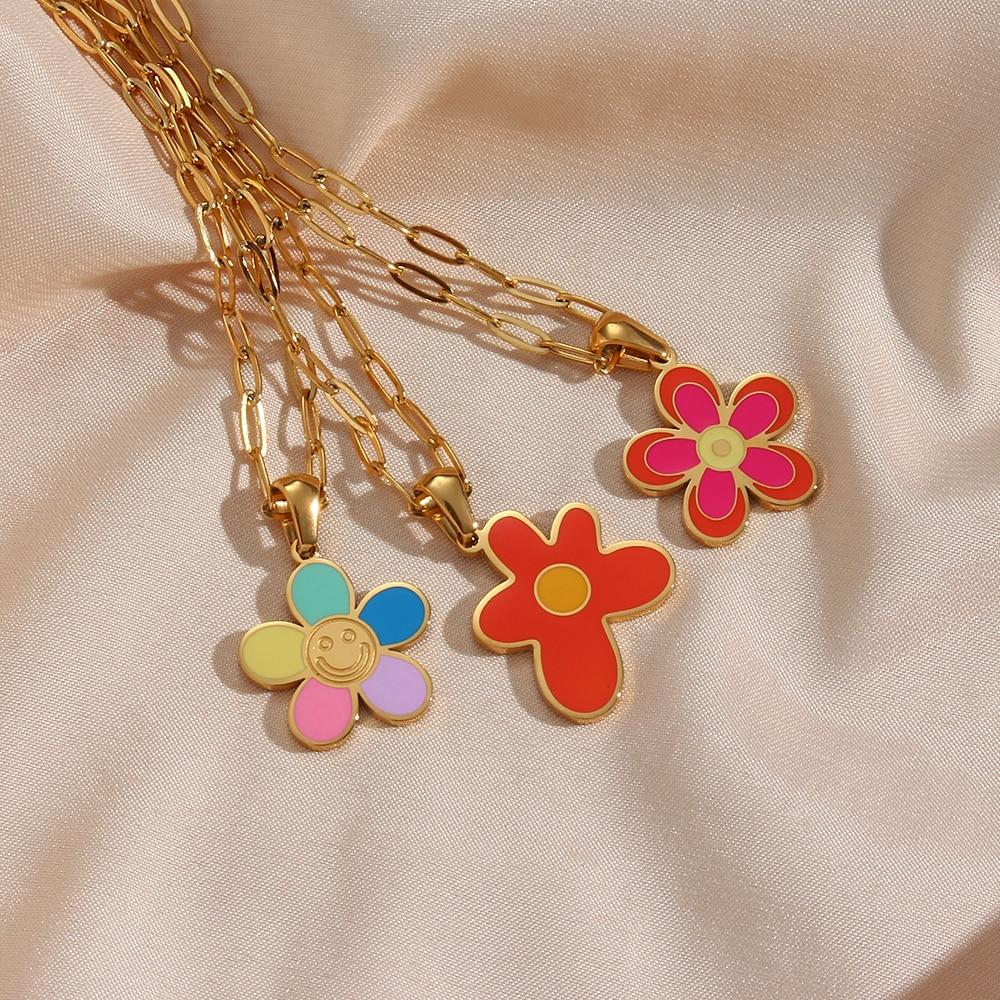 2021-Новое-красочное-эмалированное-ожерелье-с-подвеской-в-виде-смайлика-с-цветком-позолоченное-ожерелье-с-зажимом-для-бумаги-цепочка-ожере