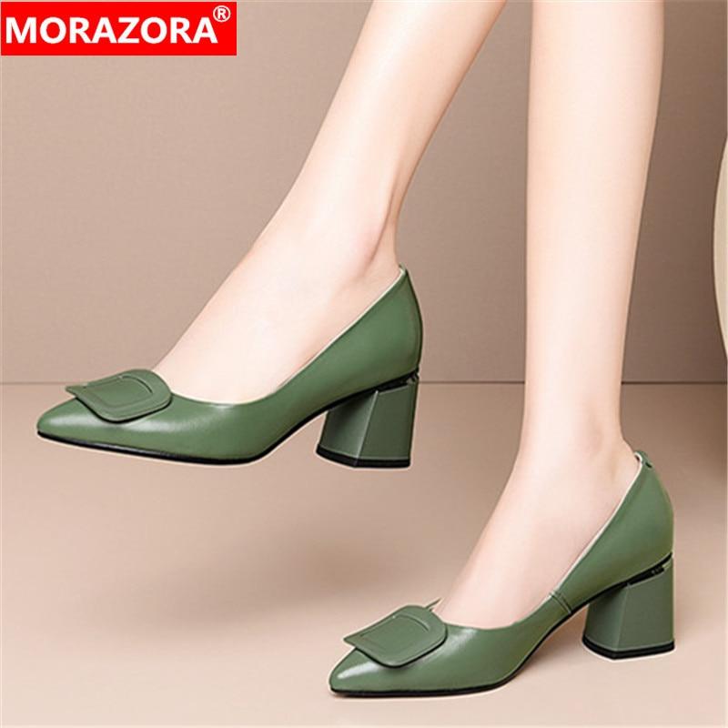 MORAZORA/2020 г. Модные женские туфли-лодочки, большие размеры 34-45 женские туфли на низком каблуке из натуральной кожи, летняя простая женская обув...