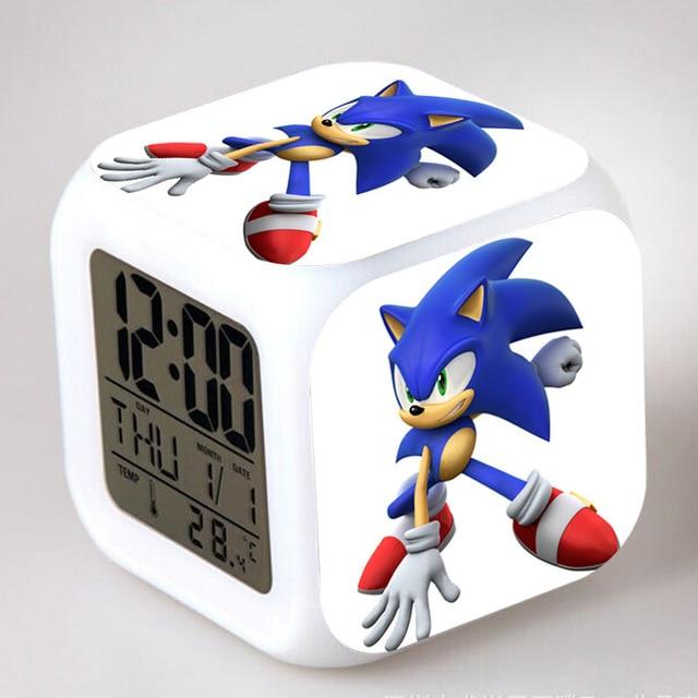 Sonic the Hedgeho Cartoon bros alarm clock Kids LED Clock  night light Flash  changing digital clock electronic desk clock