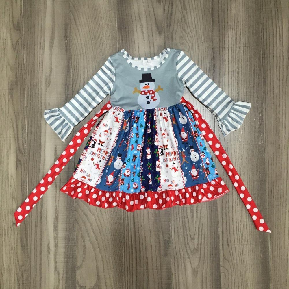 Meninas do bebê vestido de natal meninas twirl vestido meninas papai noel vestido doces impressão vestido de correspondência arco