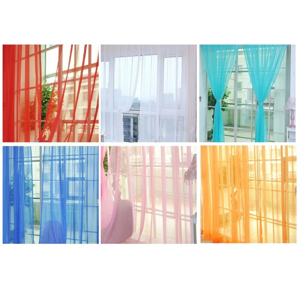Cortina de ventana de tul de Color liso Simple a la moda cortina lavable Panel cortina bufanda transparente diseño translúcido