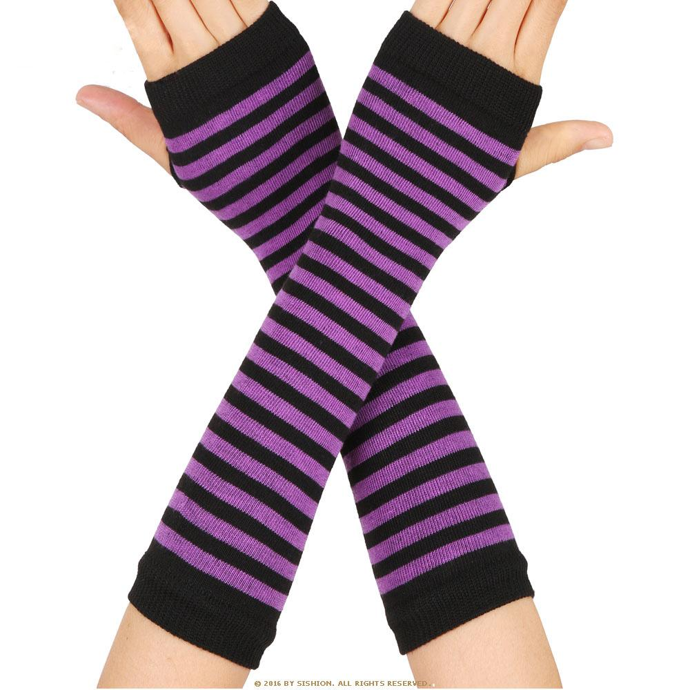 women striped elbow gloves spring autumn solid color fashion lady warm knitted long fingerless gloves high quality elbow mittens Fashion Women Lady Striped Elbow Gloves Warmer Knitted Long Fingerless Gloves Elbow Mittens