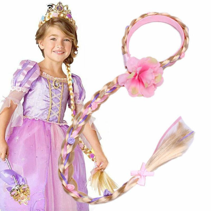 Meninas blonde cosplay tecelagem trança emaranhado rapunzel princesa bandana cabelo accesorries menina peruca