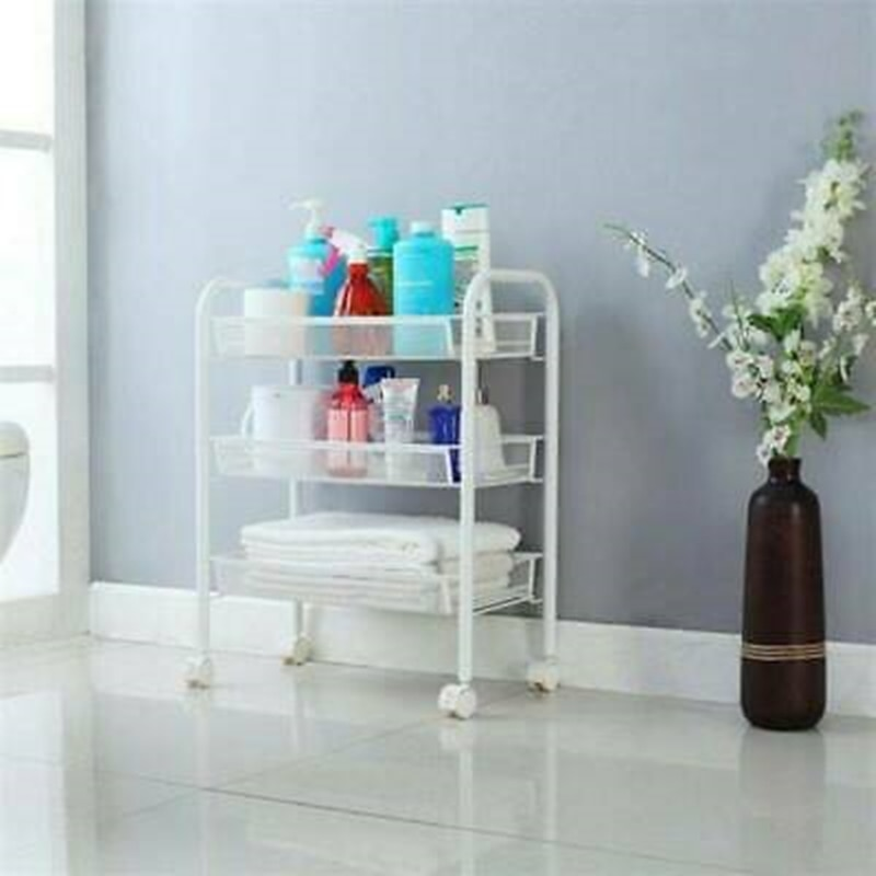 Rolling Trolley Cart  3-Tier Mobile Storage Cart Hair Beauty Salon Spa Storage Barber Equipment