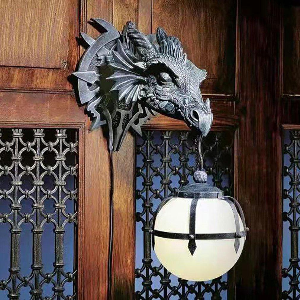 الجملة LED ديناصور مصباح معلق فانوس النمط الصناعي الراتنج رأس التنين الحرف التنين معلقة مصباح هالوين الديكور