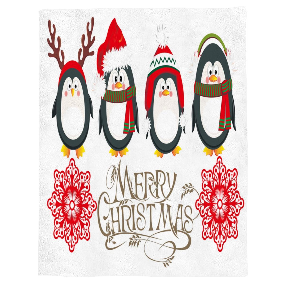 Sombrero de pingüino cuerno bufanda roja flores WhiteThrow manta sofá cama manta chico adultos manta para camas de tela de lana de Coral