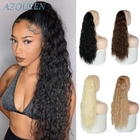 wrap on clip hair extensions long curly ponytail synthetic hairpiece ombre brown pony tail blonde fack hair