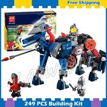 249 pces cavaleiros 2in1 lance mecha cavalo jestro lance 10485 figura blocos de construção montar brinquedos nexus compatível com