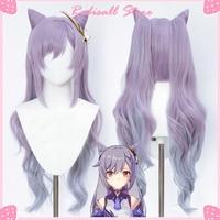 Ударный парик Genshin Keqing для косплея, фиолетовый длинный вьющийся хвост, уши, рога, косички, термостойкий женский парик на Хэллоуин, бесплатная...