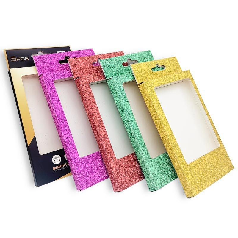 10 Uds caja de pestañas vacías caja de embalaje de pestañas postizas de brillo con bandeja de pestañas para mujeres y niñas