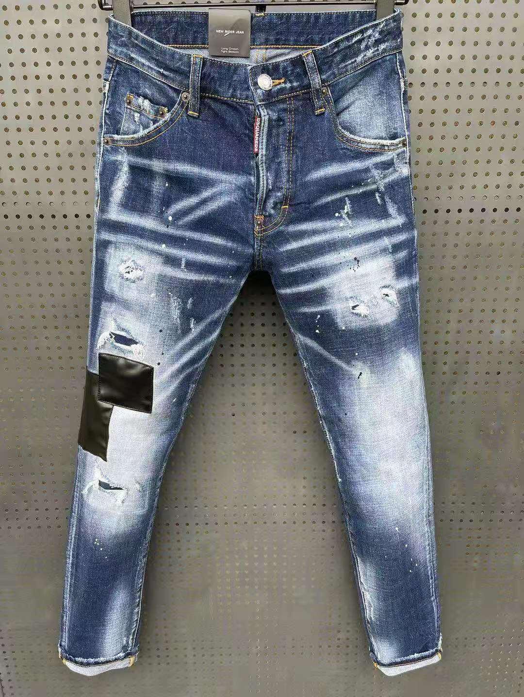 Итальянские новые модные дырки DSQUARED2 джинсы мужские/женские автомобильные нашивки краска микро-эластичные синие брюки 062
