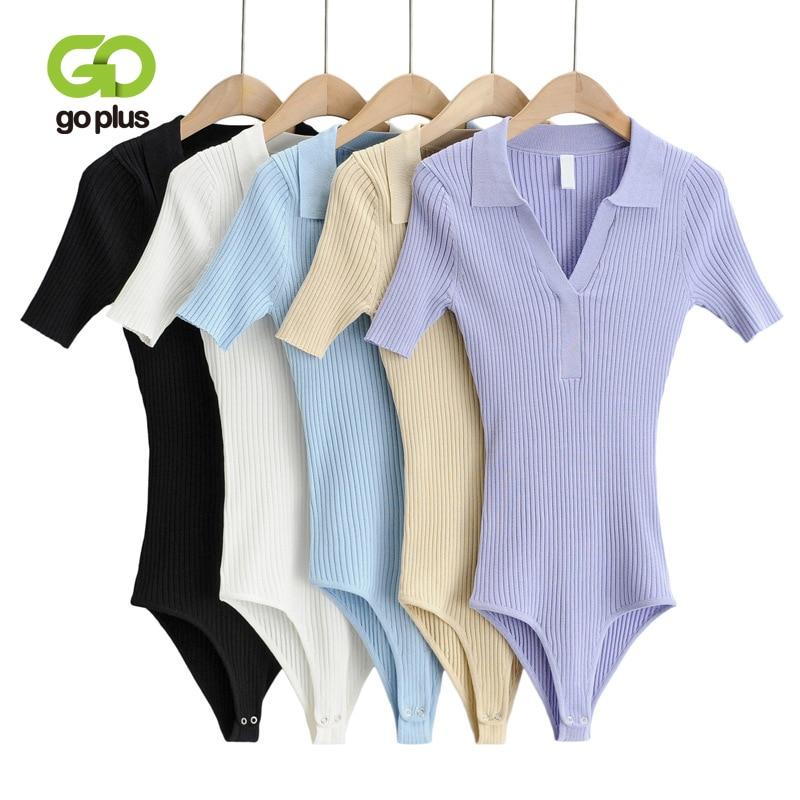 جوبلاس ملابس النساء المثيرة قطعة واحدة ملابس الصيف رفض طوق قصيرة الأكمام أسود أبيض محبوك بلوزات الجسم فام C10933