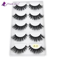 flash girl newest z series z17 5 pairs 3d natural soft silk transparent terrier eyelashes