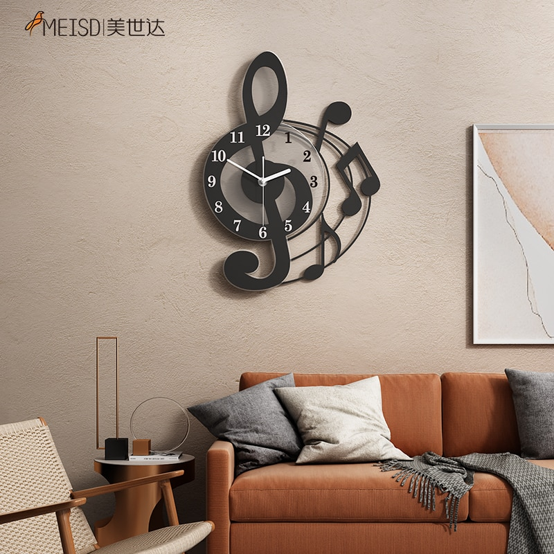 MEISD Modern Wall Clock Creative Music Design DIY Stickers Watch Quartz Silent Black Horloge Wall Art Poster Decor Free Shipping