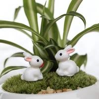652f garden ornament white rabbit resin figurine craft plant pot fairy diy decor
