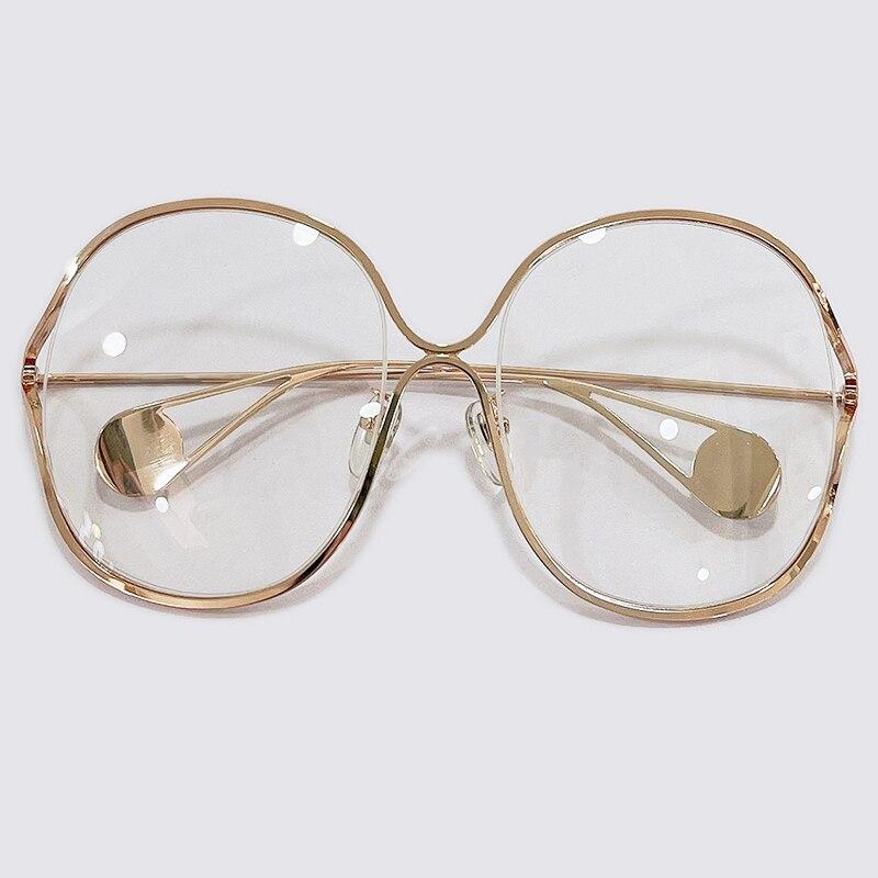 المتضخم النظارات المستديرة النظارات الكمبيوتر نظارات إطار نظارات Frrame العلامة التجارية الفاخرة تصميم واضح العدسات نظارات