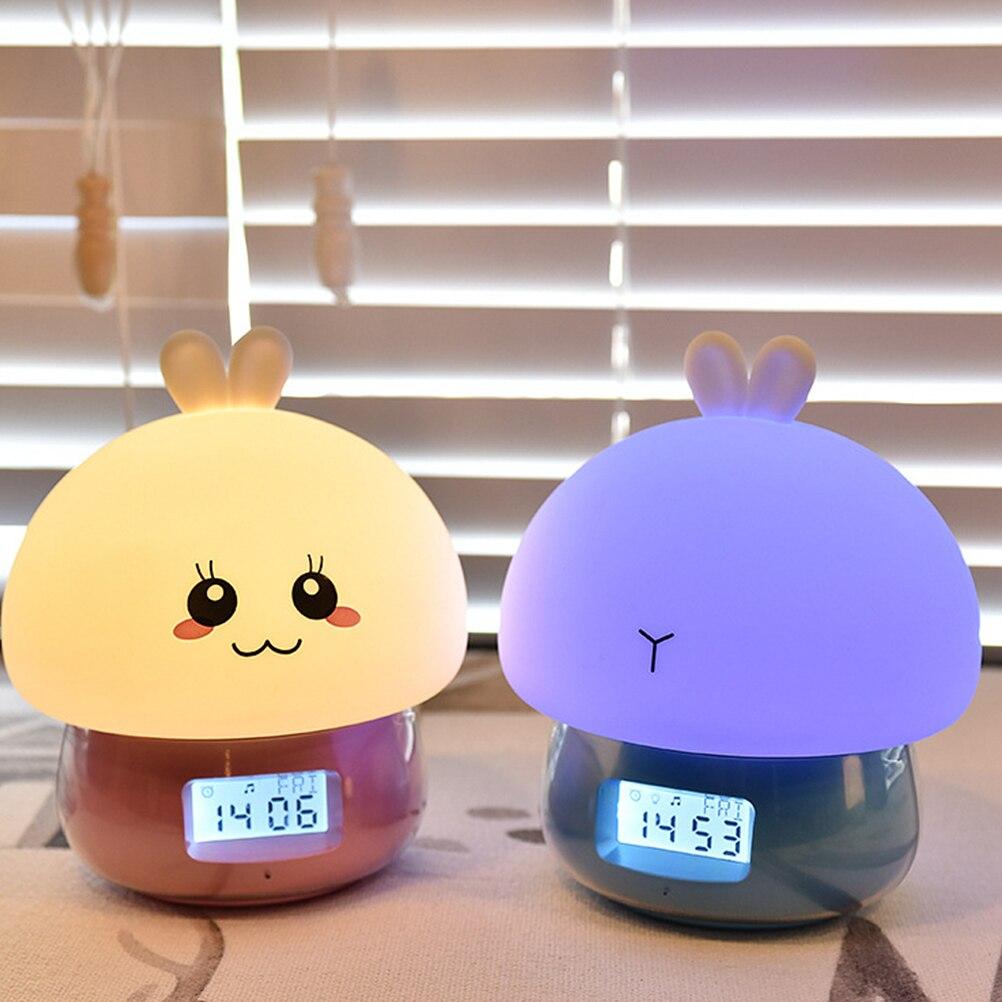 USB ساعة ليلة مصباح متعدد الألوان التحكم عن بعد الأرنب أضواء ليلية منبهات للأطفال نوم توقيت لطيف أرنب أضواء ليلية