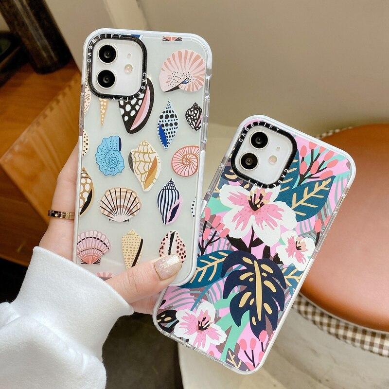 Модный чехол для телефона с цветами, листьями, ракушками для iphone 12 Mini 11 Pro Max XS XR SE 2020 7 8 Plus X, силиконовый мягкий чехол