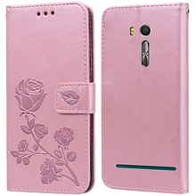 Luxury Leather Flip Book Case for Asus Zenfone Go ZB552KL X007D Rose Flower Wallet Stand Case Phone