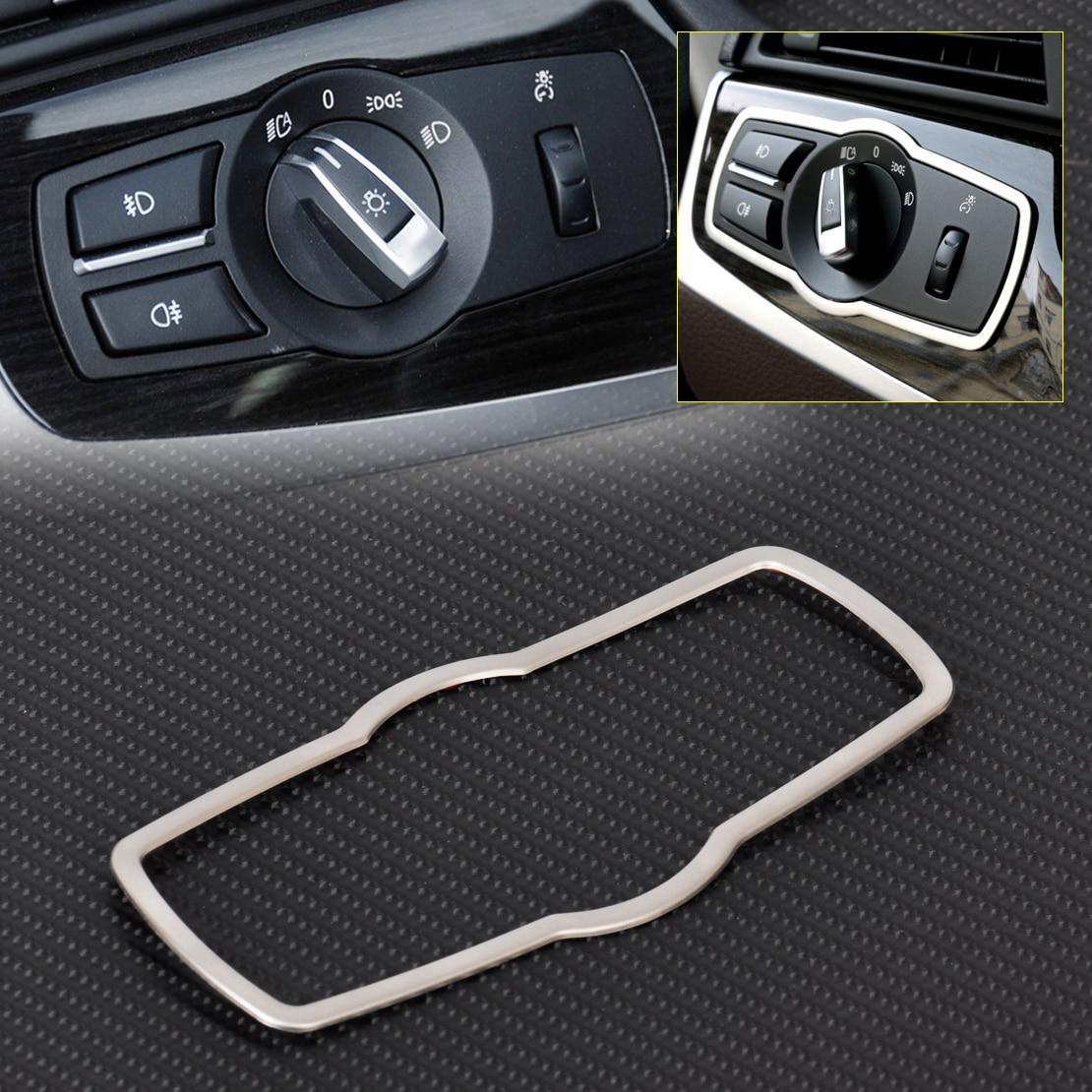 ABS cromo Interior faro cubierta de botón de interruptor Trim para BMW serie 5 X3 F25 X4 F26 2011, 2012, 2013, 2014, 2015, 2016