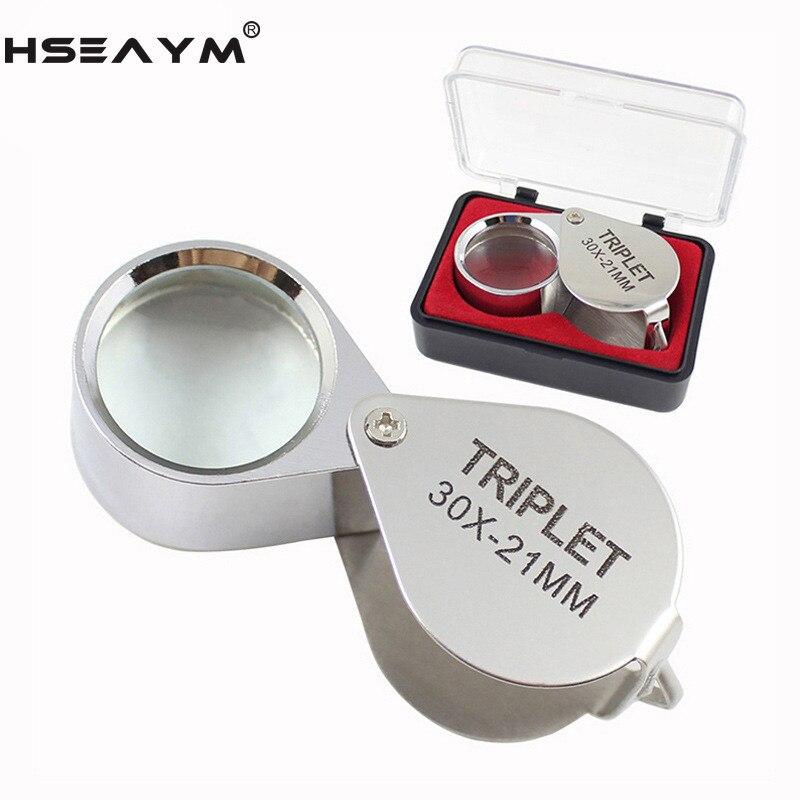 30X plegable de Metal lupa para joyería antiguo reconocimiento lupa de la caja de regalo