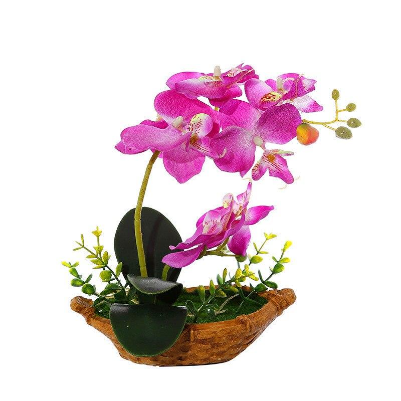Mesa de orquídeas artificiales, mariposa, maceta, flor falsa para el hogar, Sala...