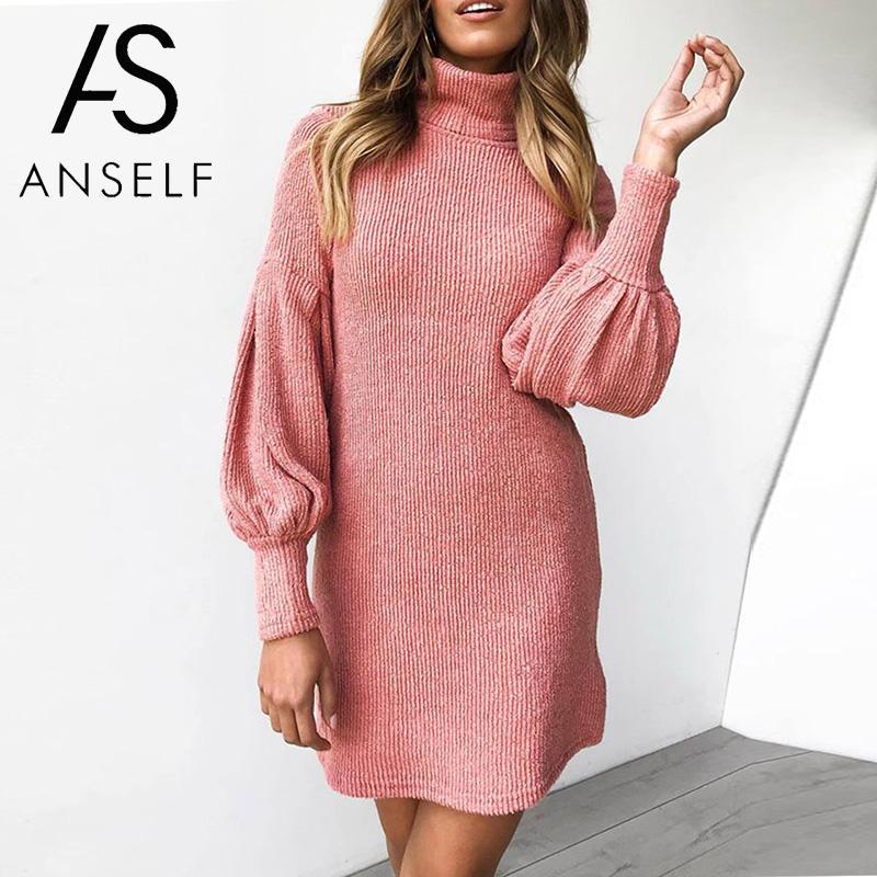 2019 Fashion Mini Sweater Dress Women Knitted Dress Solid High Collar Lantern Long Sleeve Casual Dress female Grey Pink Yellow
