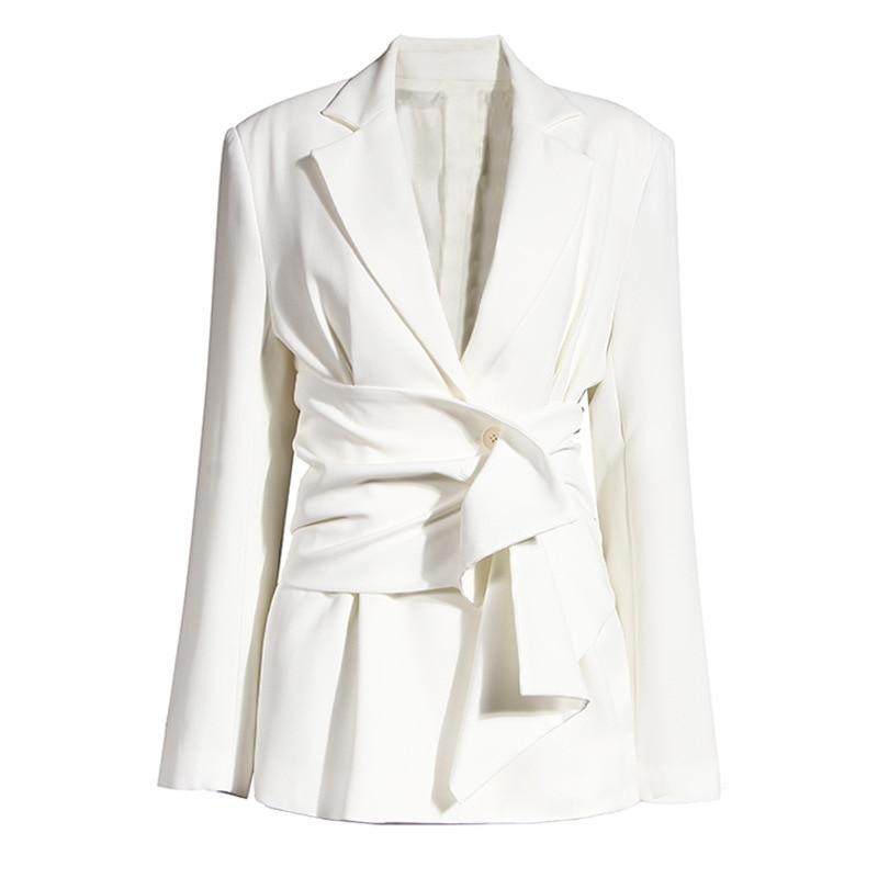 2021 Winter Clothes Women  Solid  Ruffles Literary Niche Design Breasted Belt Waist White Blazer Jacket for  Women Clothing